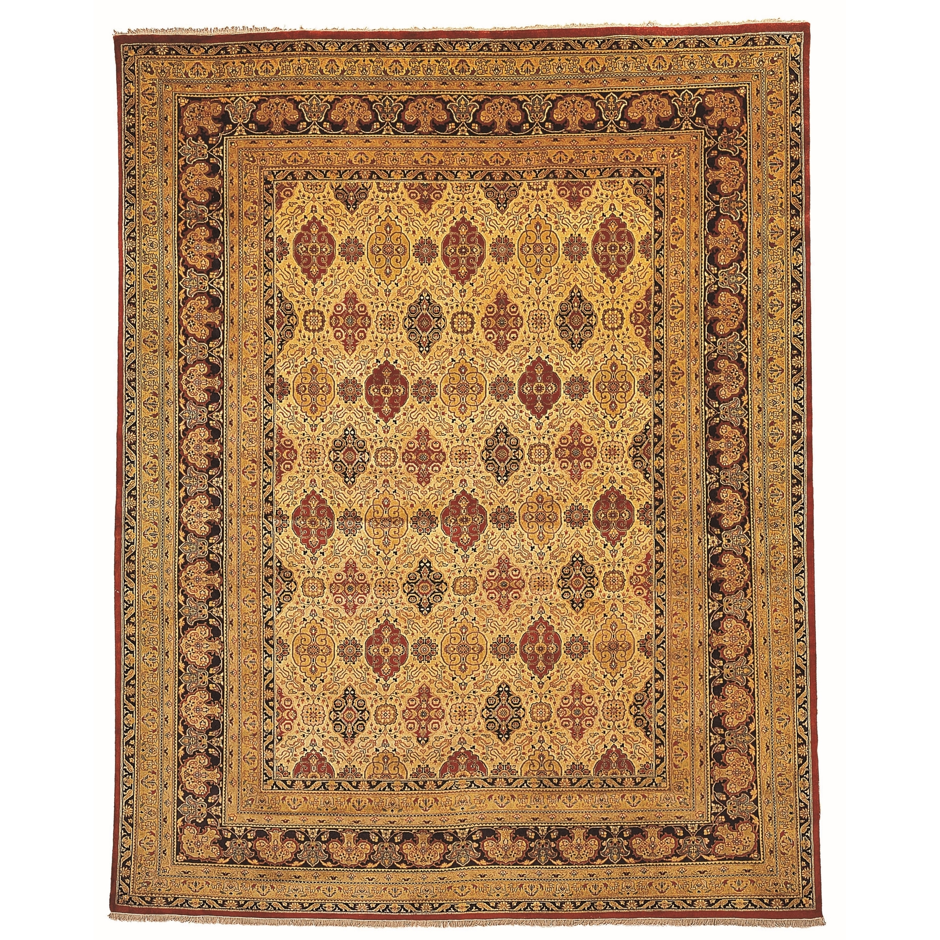Vegetable Dyed Hand Knotted Floral Oushak Ivory Persian: Safavieh Hand-knotted Lavar Ivory/ Navy Wool Rug