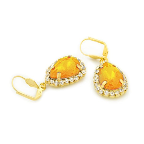 18k Gold Orange Crystal Tear Drop Hanging Earrings