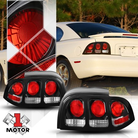 Black/Clear *EURO ALTEZZA* Tail Light Rear Brake Lamp for 94-98 Ford Mustang 95 96 97