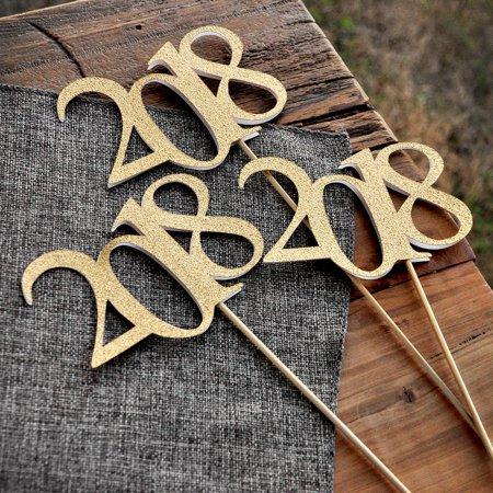 2018 Graduation Centerpiece Sticks. Crafted in 1-3 Business Days. Graduation Centerpiece Ideas. Gold Graduation Decor. 3 Gold 2018 Wands.