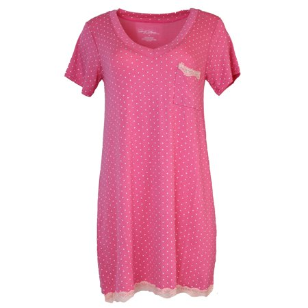 Dot Gown (Marilyn Monroe Intimates Women's Short Sleeve Nightgown with Pocket (Large, Pink Polka)