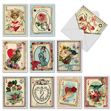 'M2381OCB ALL DECKED OUT' 10 Assorted All Occasions Greeting Cards Featuring Romantic Collage Images Combined with Vintage Playing Cards with Envelopes by The Best Card (Best Yugioh Deck Card List)