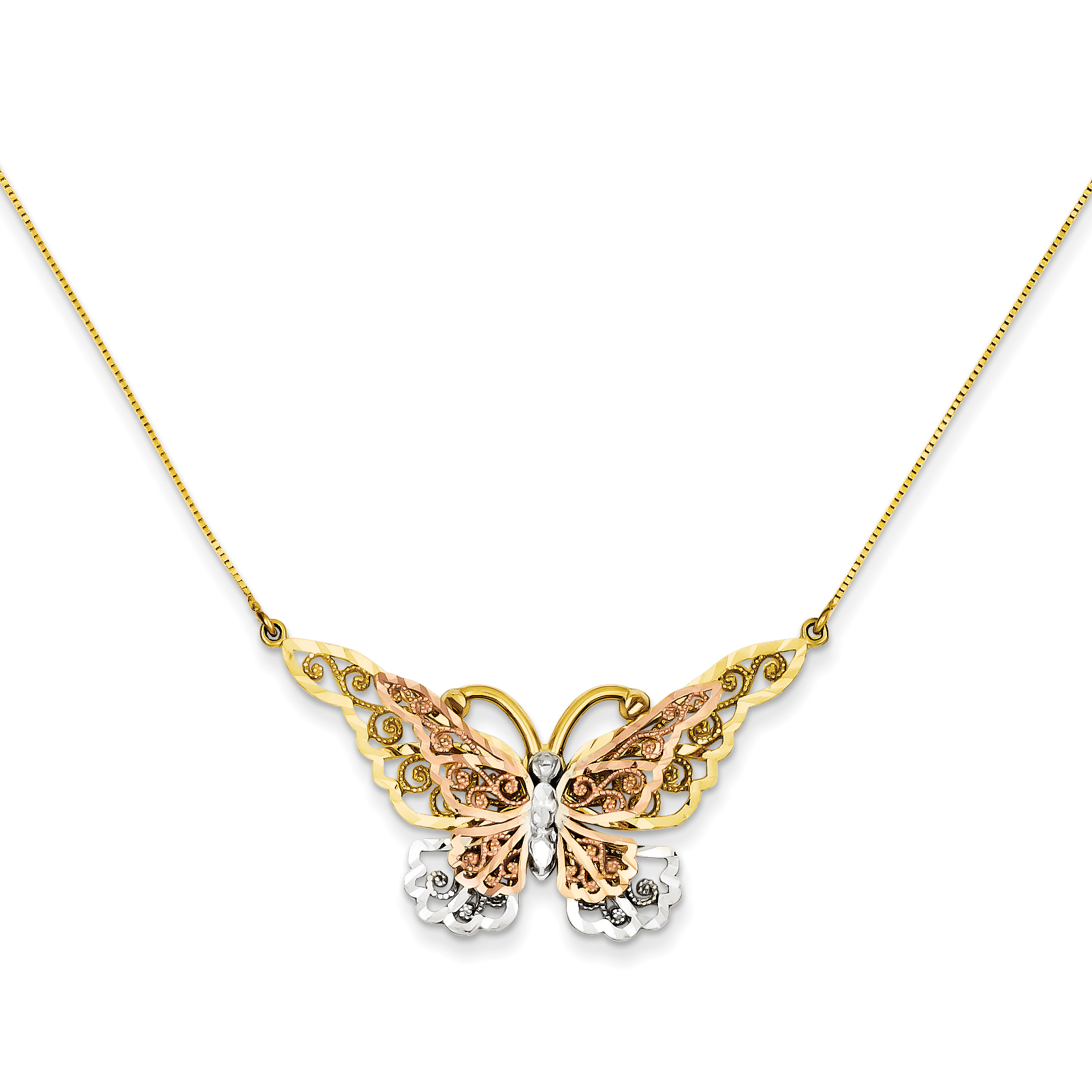 14k Yellow & Rose Gold w/ Rhodium Butterfly Necklace - 6625A