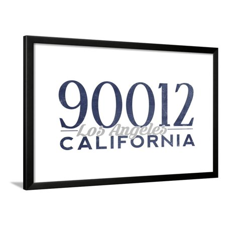 Los Angeles, California - 90012 Zip Code (Blue) Framed Print Wall Art By Lantern (Los Angeles Area Codes And Zip Codes)