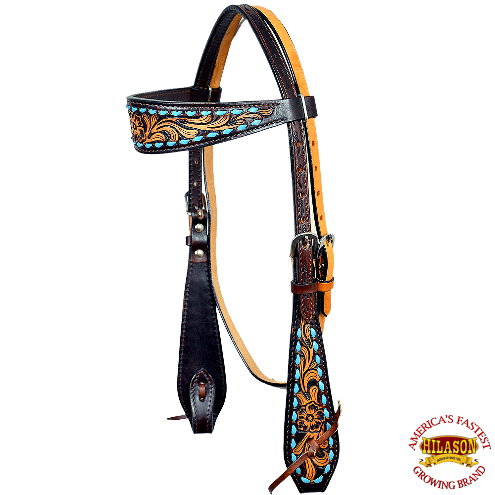 HILASON WESTERN AMERICAN LEATHER HORSE HEADSTALL DARK BROWN FLORAL