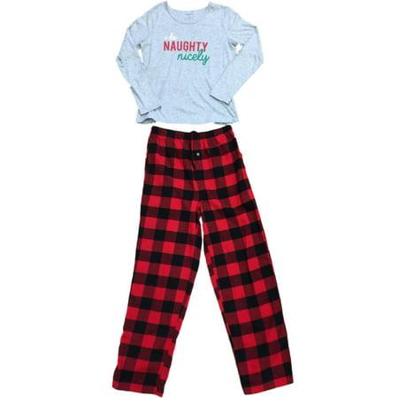 Womens Gray I Do Naughty Nice Pajamas Red & Black Plaid Tartan Flannel Sleep Set  - Size - Small