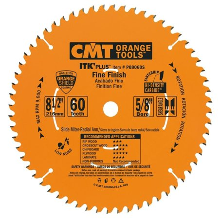 P08060S ITK Plus Finish Sliding Compound Miter Saw Blade, 8-1/2 x 60 Teeth, 10° ATB+Shear with 5/8-Inch bore, For fine finish crosscuts. Glass-smooth.., By
