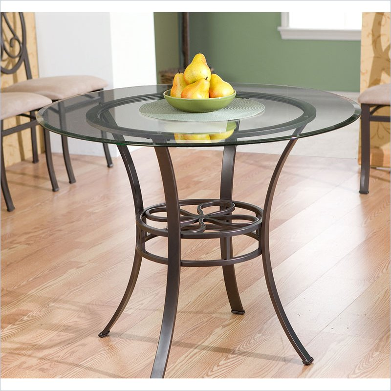 Holly & Martin Paisley Round Glass Top Dining Table in Dark Brown