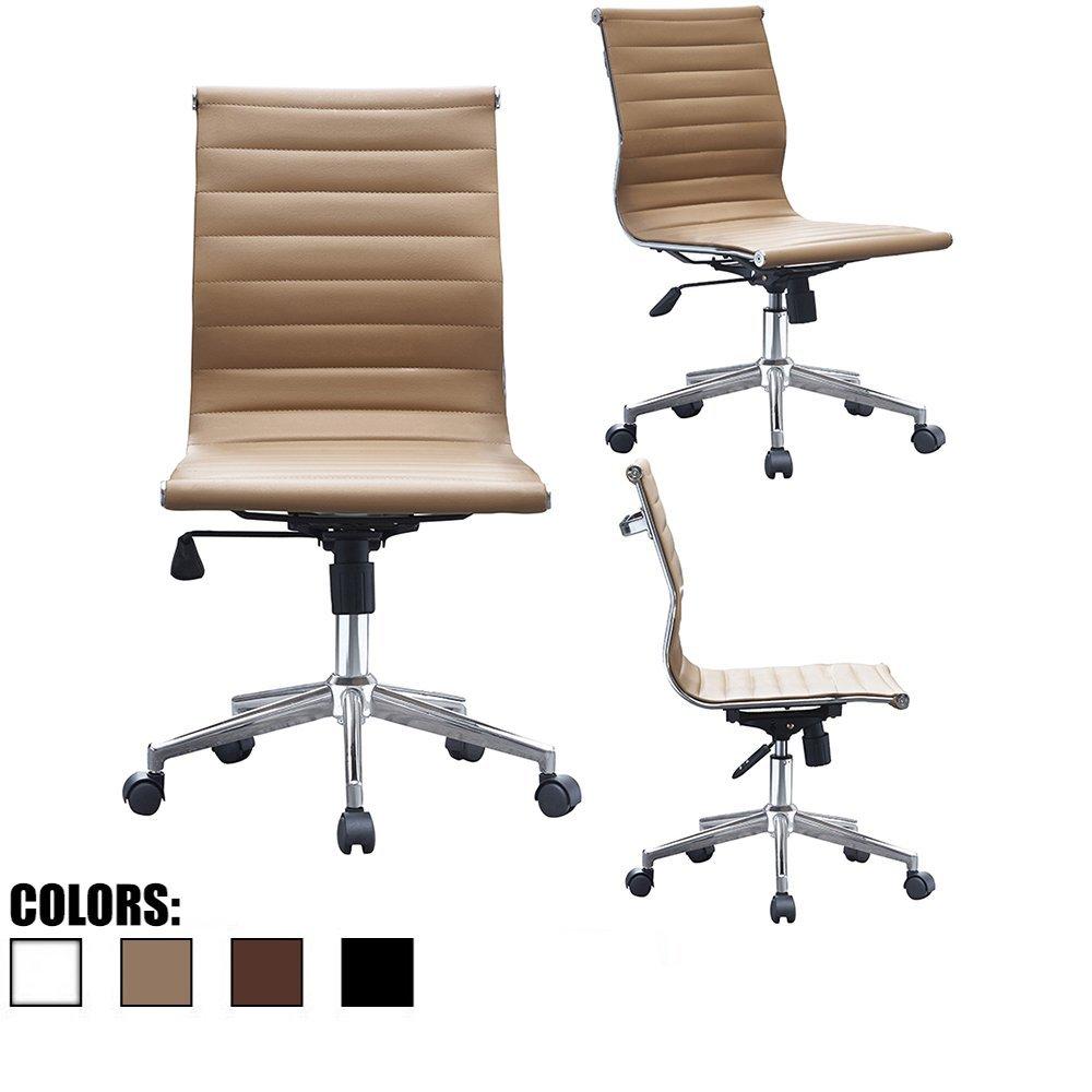 2xhome   Tan   Eames Modern Mid Back Ribbed PU Leather Swivel Tilt  Adjustable Chair Designer