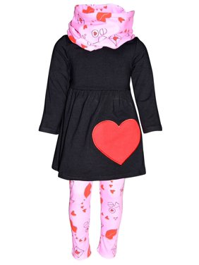 Unique Baby Girls Valentine's Day Love Letters Outfit Set (7/XXL, Black)