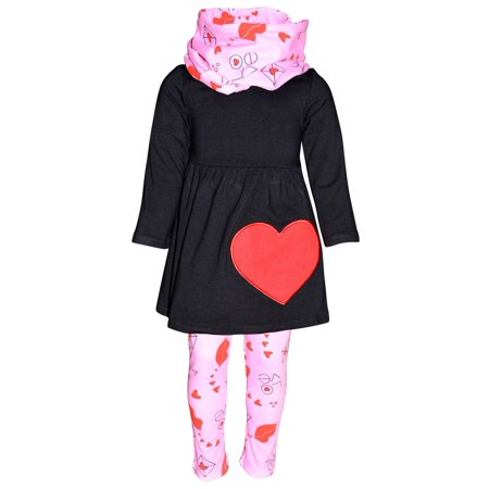 Unique Baby Girls Valentine's Day Love Letters Outfit Set (7/XXL, Black)](Black Baby Girl)