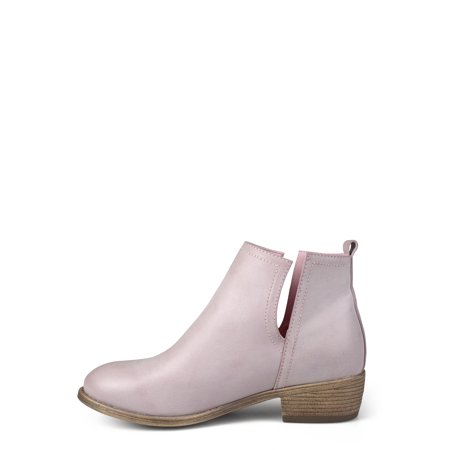 Womens Side Slit Faux Leather Stacked Heel Booties