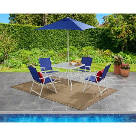 6 Piece Patio Dining Furniture Set Umbrella Outdoor Table Folding Chair