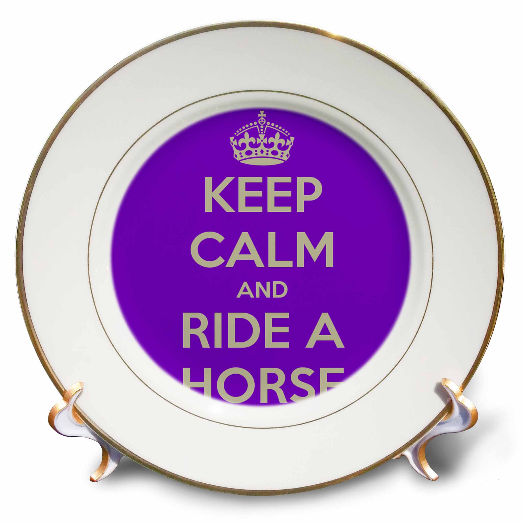 3dRose Keep calm and ride a horse, Purple and White, Porcelain Plate, 8-inch