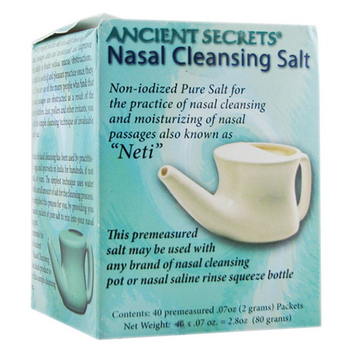 Ancient Secrets Neti Nasal Cleansing Salt, Non Iodized, 40 Packets