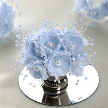 - Faux Pearl Decor Flower Braids Corsage Boutineer Craft Baby Blue 72/Pack