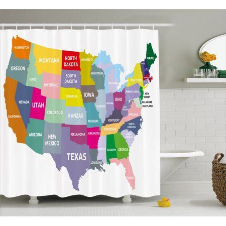 Map Shower Curtain USA Map With Name Of States In Different Colors