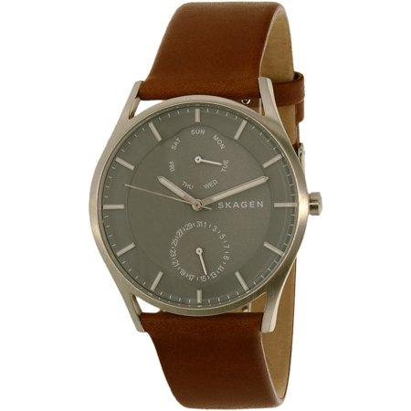 a9a7121b0be105 Skagen - SKW6264 Men s Holst Grey Dial Brown Leather Strap Watch -  Walmart.com