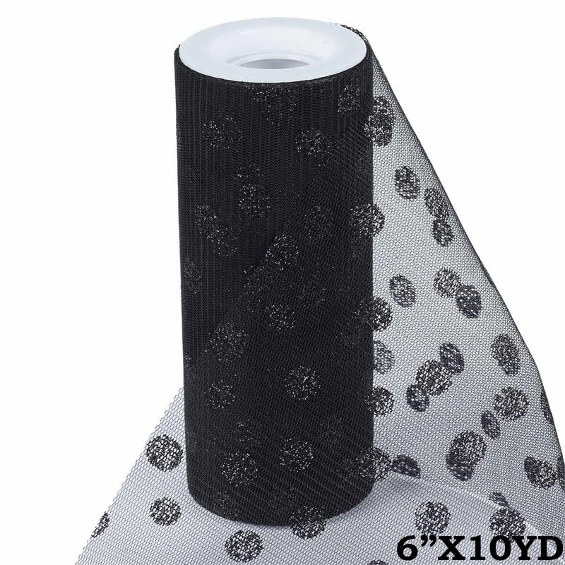 6 inch x 10 yards Glittered Polka Dot Tulle - Black