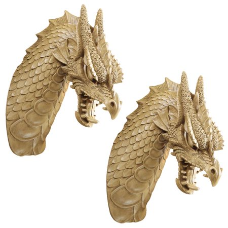 42 Dragon Head (Design Toscano Head of the Beast Dragon Wall Sculpture: Set of Two )