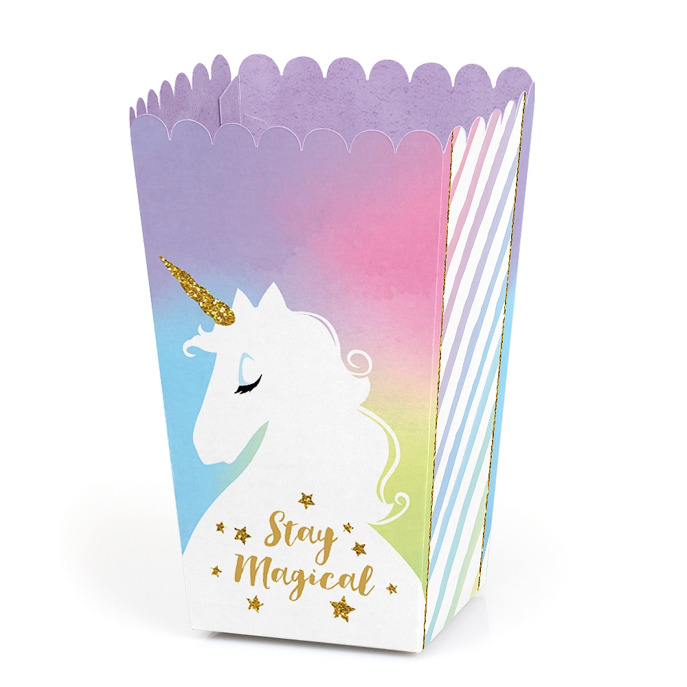 Stay Magical Rainbow Unicorn - Magical Unicorn Baby Shower or Birthday Party Favor Popcorn Treat Boxes - Set of 12