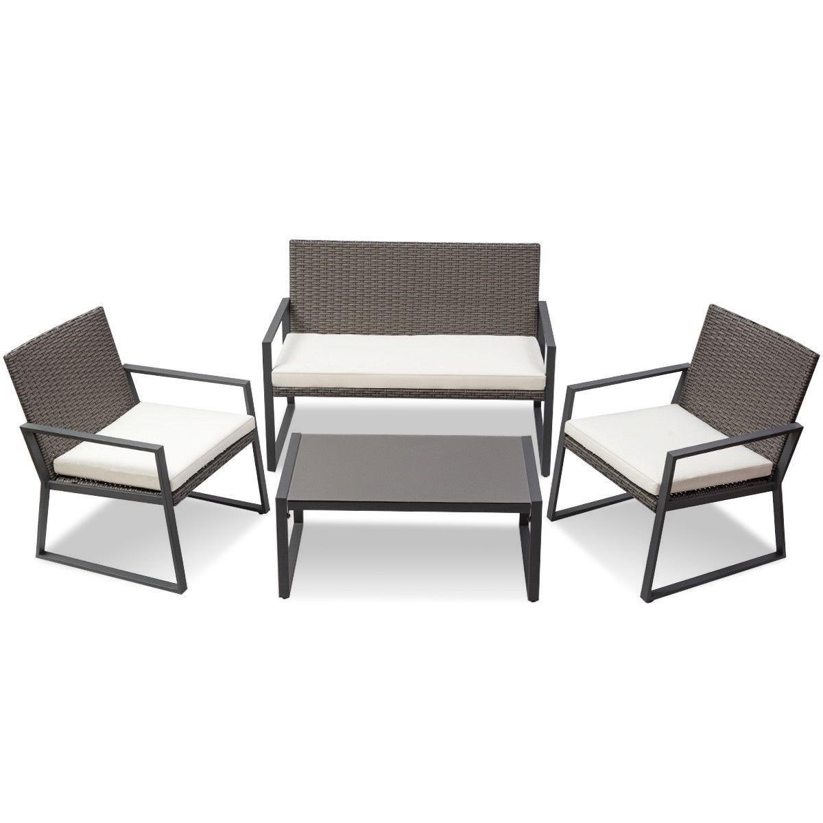 4 pcs Patio Rattan Wicker Cushioned Seat Sofa Furniture Set by