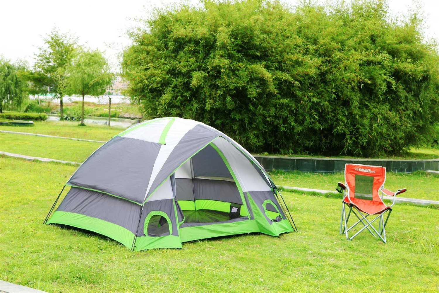 SEMOO Water Resistant D-Style Door, 4-Person Camping Traveling Family Dome Tent with Carry Bag by SEMOO
