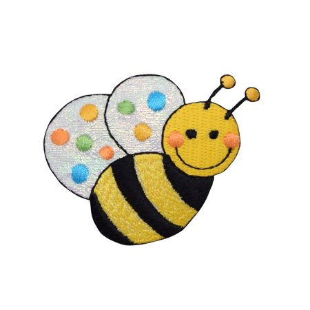 Bee Applique - Large Bee  - Shimmery/Colorful Dots - Iron on Applique/Embroidered Patch