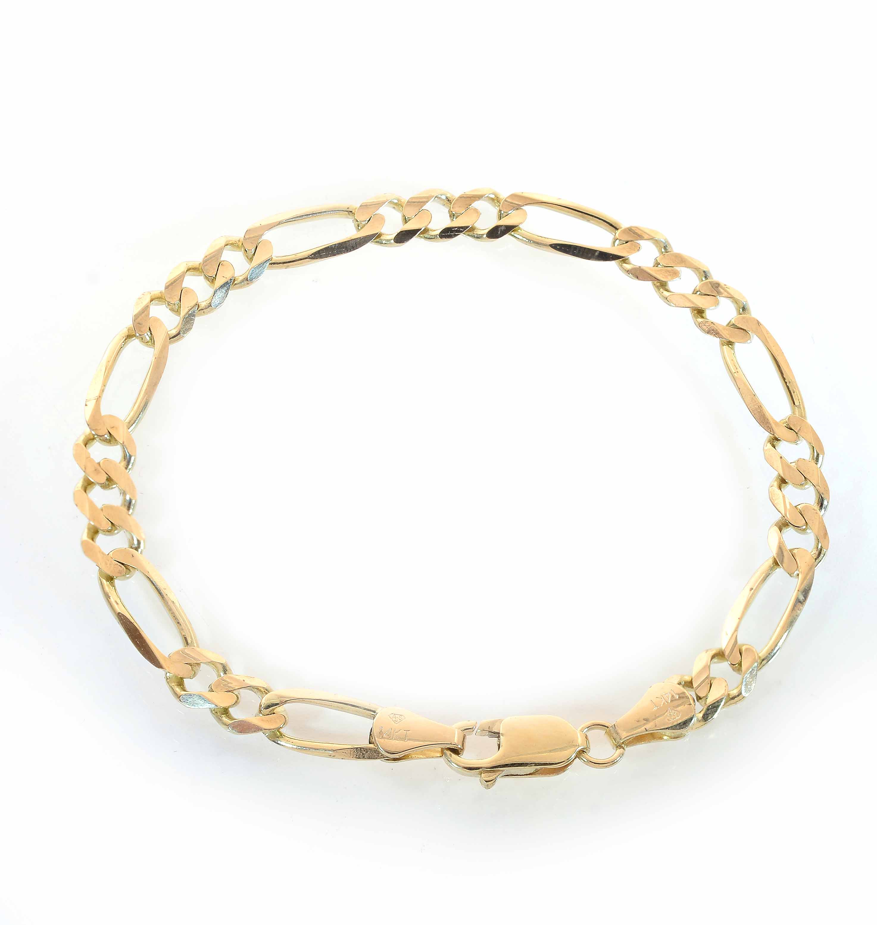 5.9mm 14K Yellow Gold Classic Figaro Chain Bracelet Italy by