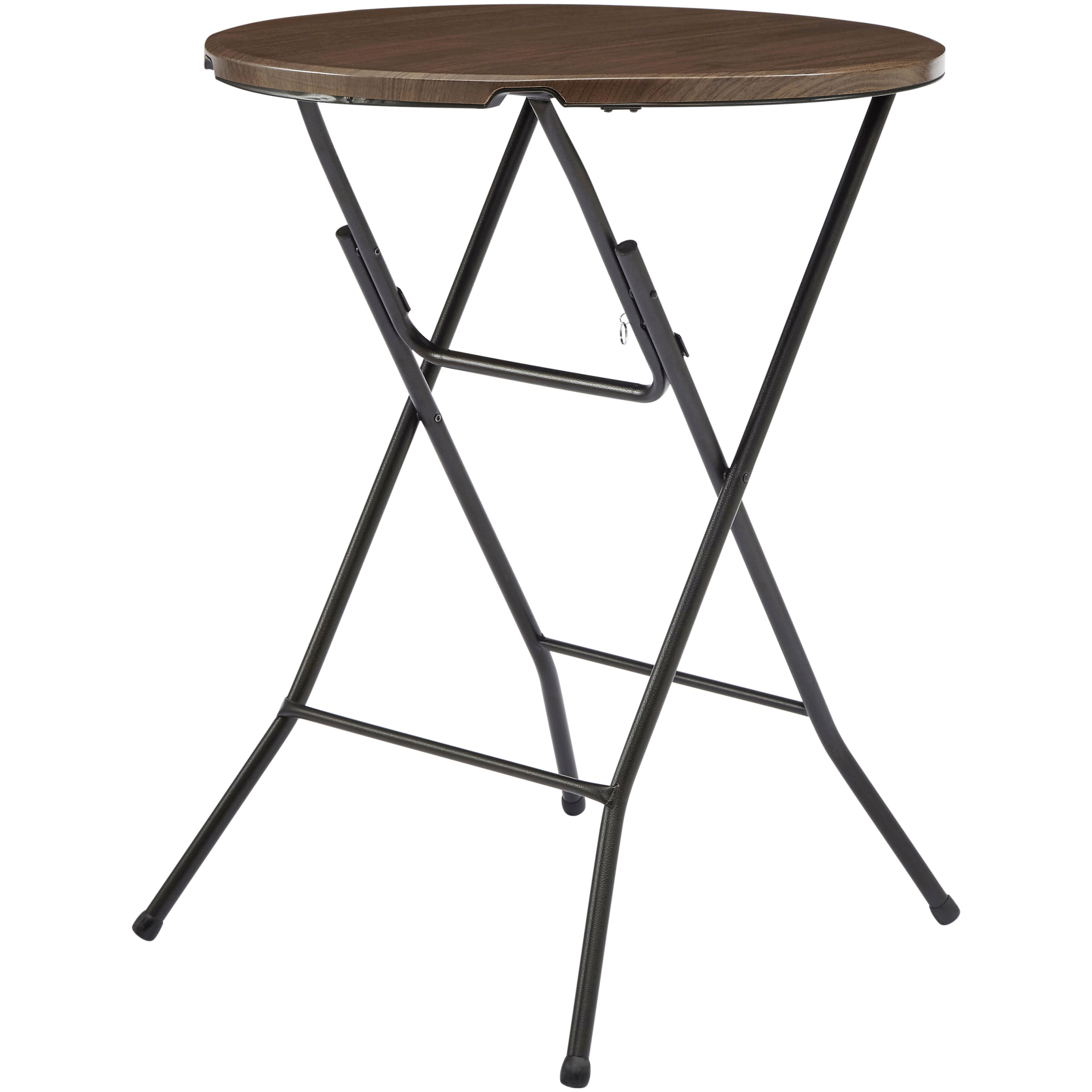 Folding Round Table Top.Mainstays 31 Round High Top Folding Table Walnut