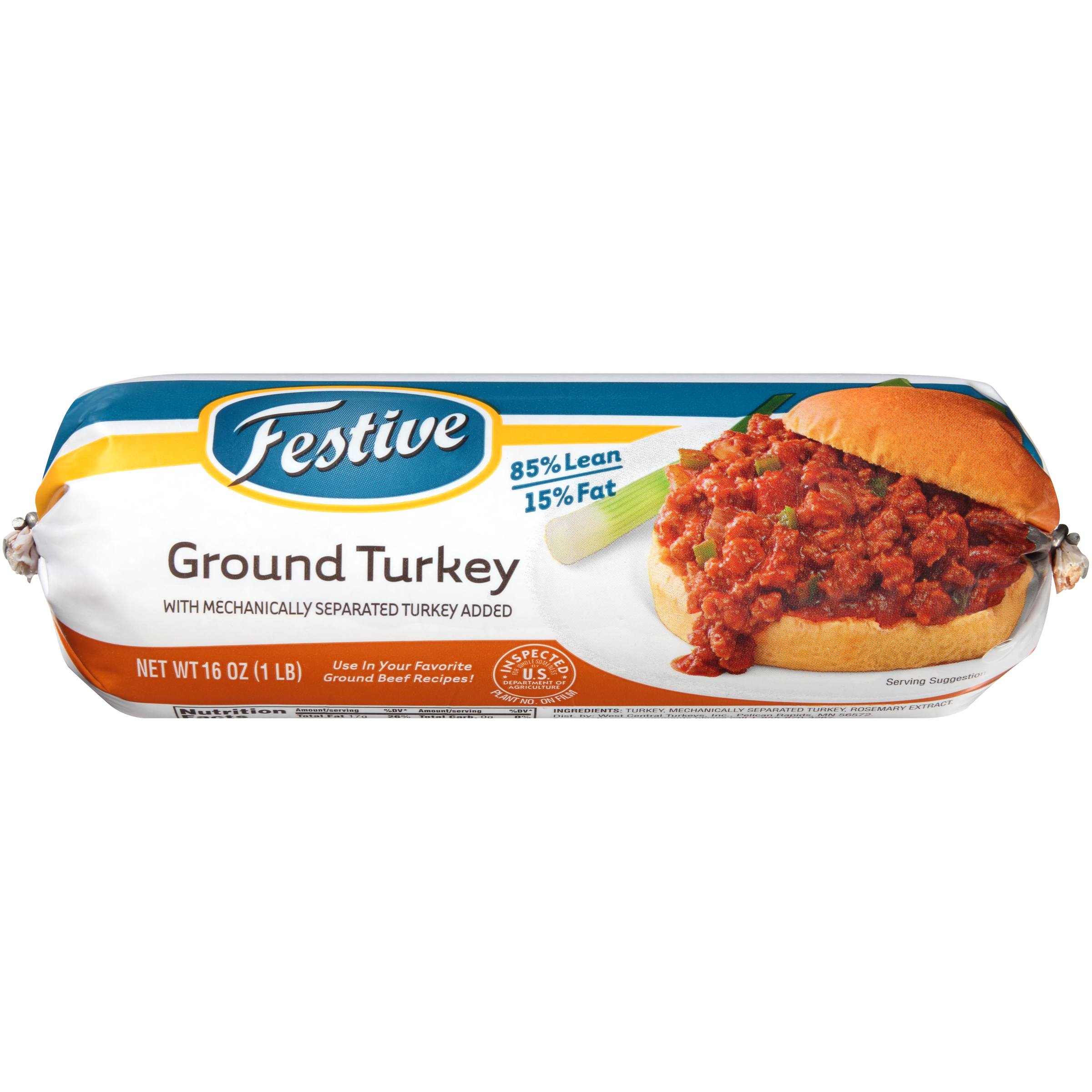 Festive Ground Turkey Roll, Frozen 1.0 lbs