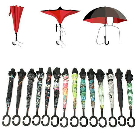 Grtsunsea Unisex C-Type Handle Umbrella Inverted Double Layer Handfree Sun Umbrella Rain Protection Windproof Waterproof Folding Reversible Upside Down Self (Reversible Umbrella)