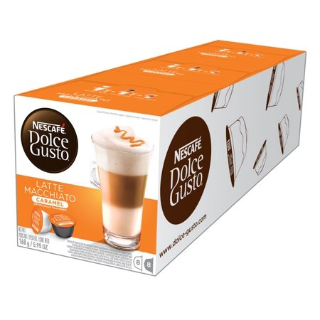 Nescafé Dolce Gusto Caramel Latte Macchiato Coffee Pods, Espresso Roast, 24 Count (3 Packs of 8 Coffee + Latte Pods)