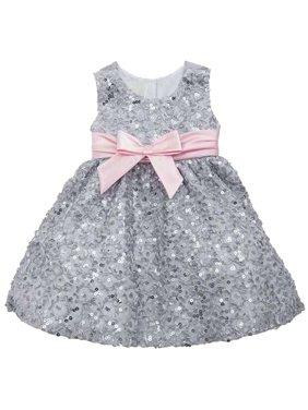 7033e4c36ab7 Product Image Baby Girls 3M-24M Silver/Pink Sequin Soutache Social Party  Dress, 24M [