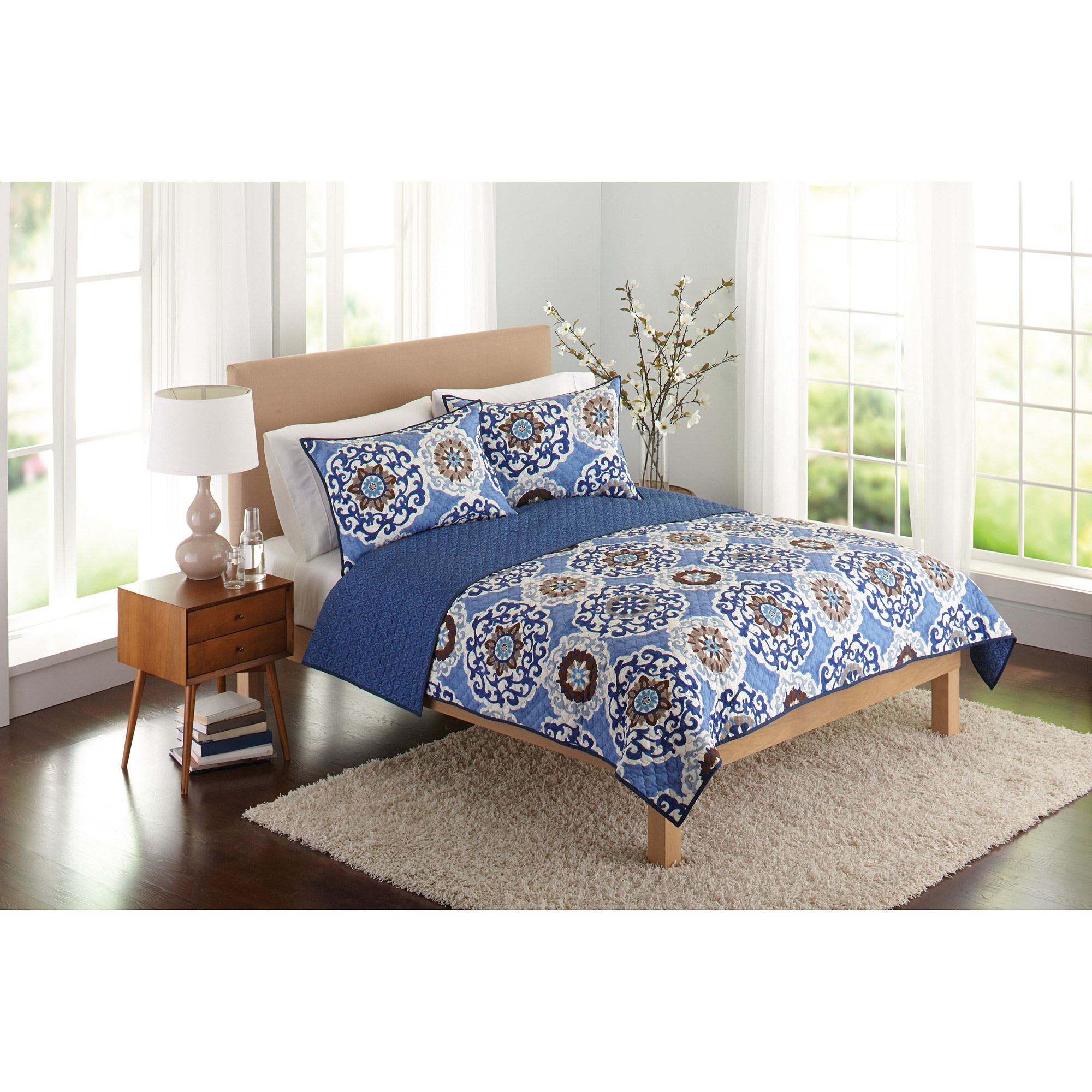 Better Homes and Gardens Suzani Bedding Quilt, Blue