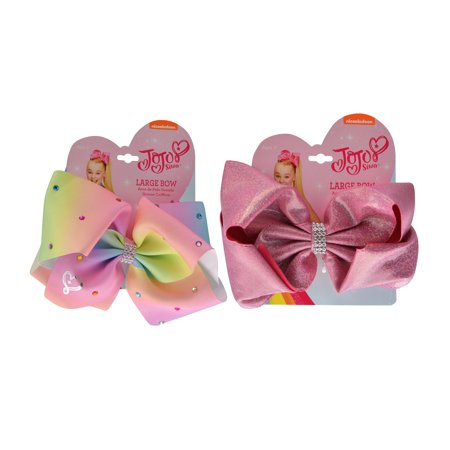 JoJo Siwa Rhinestone Pastel and Pink Glitter Hair Bow Elastics - Halloween Hair Bow Resins