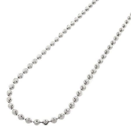 925 Silver Bead Necklace (Sterling Silver Italian 3mm Ball Bead Moon Cut Solid 925 Rhodium Necklace Chain 16