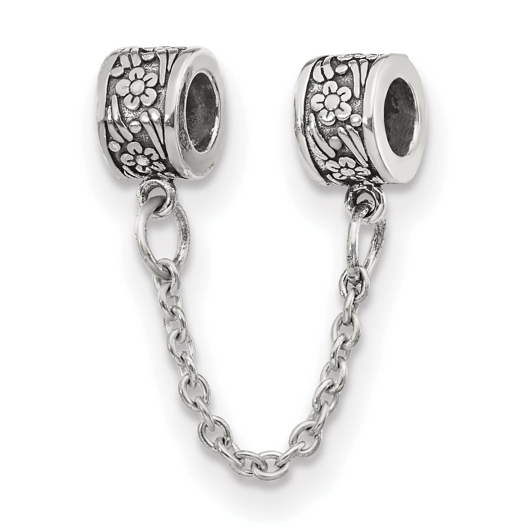 925 Sterling Silver Charm For Bracelet Security Chain Floral Bead ... 19ecf3150