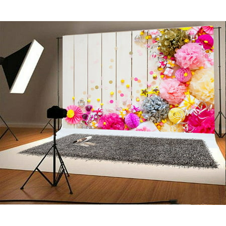 MOHome Polyester Fabric 7x5ft Photography Backdrop Pink Gold Silver and Yellow Festive Paper Balls Birthday Planks Scene Photo Background Children Baby Adults Portraits Backdrop - Paper Photo Backdrops