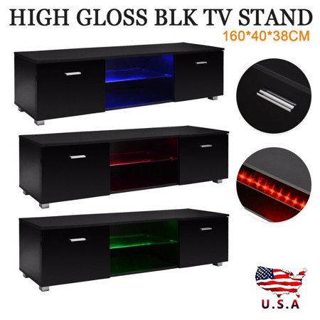 High Gloss Black 63'' TV Stand Unit Cabinet with LED Light 2 Drawers Console (Best Tv Unit Designs)