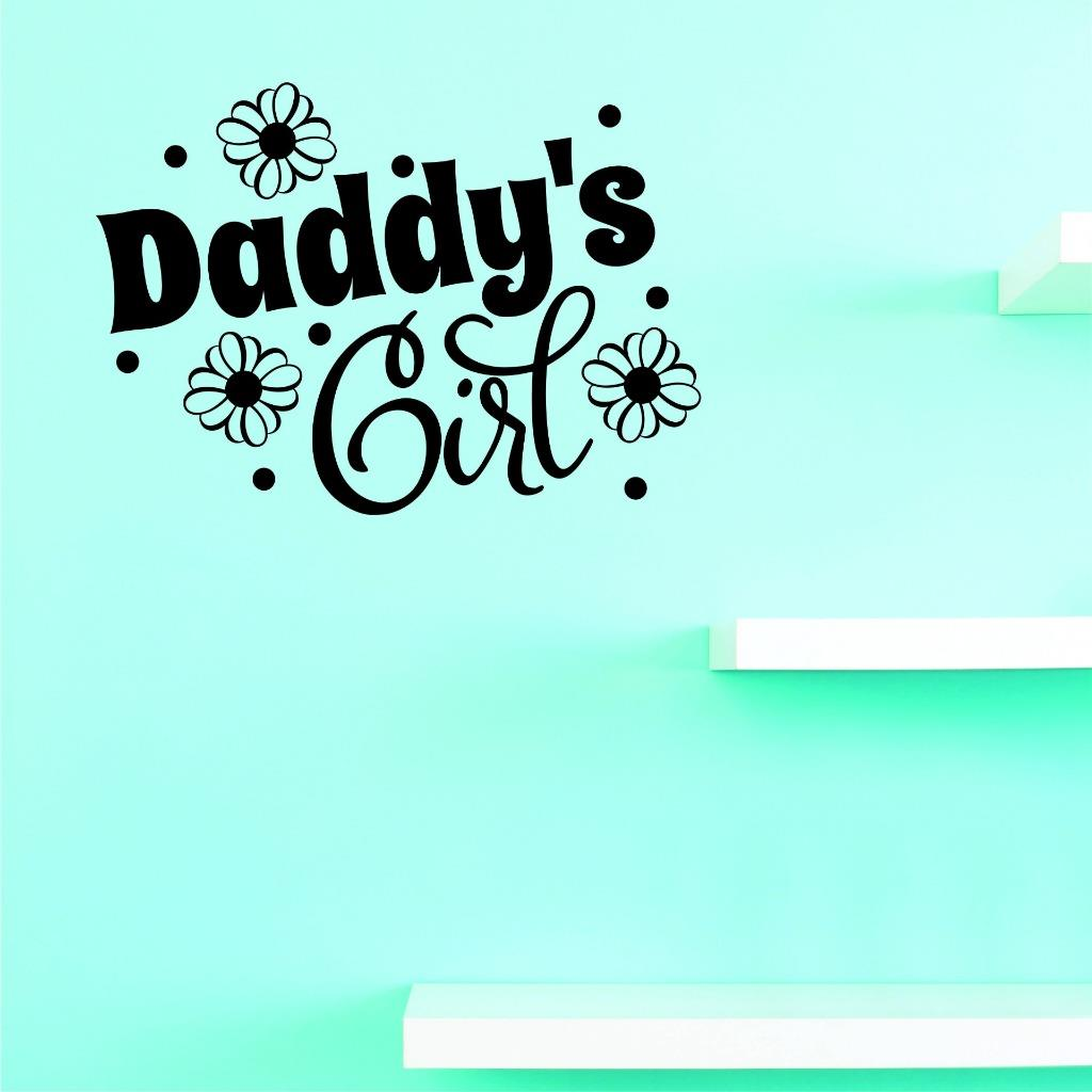 Custom Decals Daddys Girl Wall Art Size: 14 X 28 Inches Color: Black