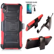 Phone Case For Straight Talk Motorola e6 Prepaid Smartphone /Moto E6 Case +Tempered Glass with Shock Absorbing Holster Belt Clip (Holster Red  +Tempered Glass)
