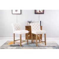 Roundhill Carlisle Tan Counter Height Button Tufted Solid Wood Bar Stools, Set of 2