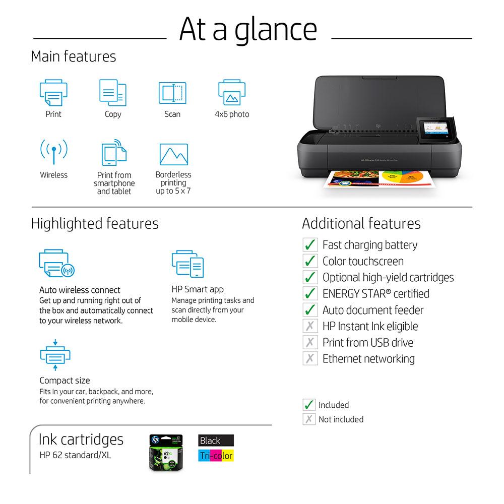 HP OfficeJet 250 Mobile AiO Inyecci/ón de Tinta t/érmica A4 WiFi Negro Impresora multifunci/ón Inyecci/ón de Tinta t/érmica, Color, Color, Color, No Compatible, Negro, Cian, Magenta, Amarillo
