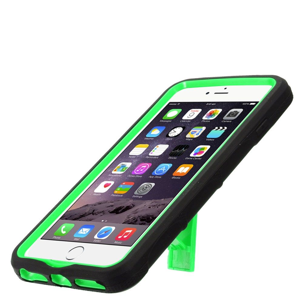 """Insten Symbiosis Silicone Hybrid Dual Layer Rubber Hard Stand Case for Apple iPhone 8 Plus / iPhone 7 Plus (5.5"""")- Black/Green - image 1 of 3"""