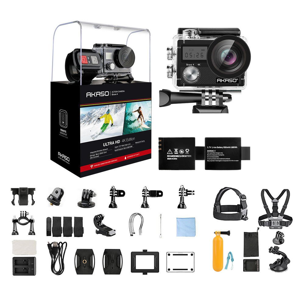 AKASO Brave 4 WiFi Action Camera 4K Sony Sensor Ultra HD 20MP Sports Camera EIS 30m Waterproof 170 Degree Wide Angle Remote Sports Camcorder+ 7 in 1 Camera Accessories & 1 Year Extended Warranty