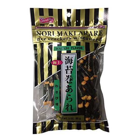Nori Maki Arare Rice Crackers with Seaweed Wasabi Flavor 3 oz per Pack (2 Pack) ()