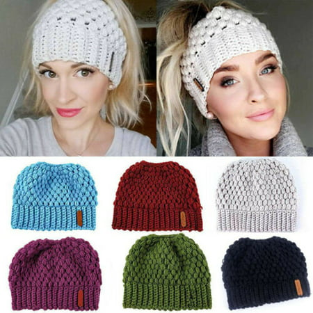 Pudcoco Lady Beanie Tail Messy Soft Bun Hat Ponytail Stretchy Knit Crochet Skull Caps Aa Tail Cap