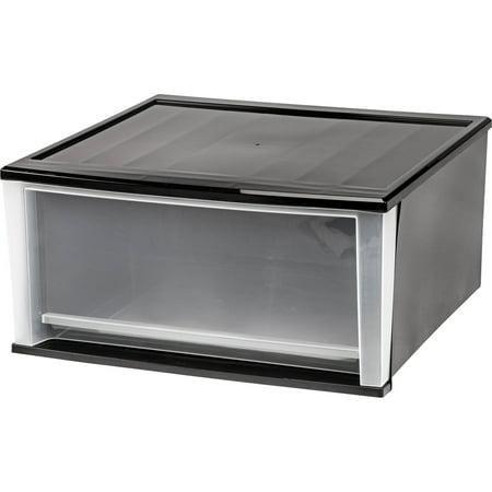 IRIS 51 Qt. Stacking Storage Drawer, Black Set of 2