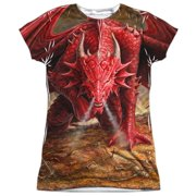 Anne Stokes - Dragons Lair (Front/Back Print) - Juniors Cap Sleeve Shirt - Large